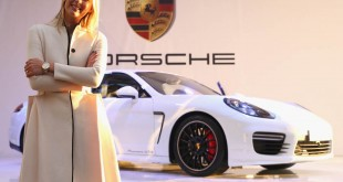 "SOCHI, RUSSIA - FEBRUARY 04:  Porsche Brand Ambassador Maria Sharapova attends the presentation of her personalised ""Panamera GTS by Maria Sharapova"" in her hometown of Sochi, on February 4, 2014 in Sochi, Russia.  Every details of the car has been specified by the tennis superstar herself to match her personal aesthetic, design and athletic personality.  (Photo by Alexander Hassenstein/Getty Images for Porsche) *** Local Caption *** Maria Sharapova"